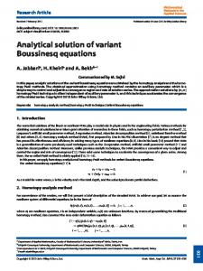Analytical solution of variant Boussinesq ... - Wiley Online Library