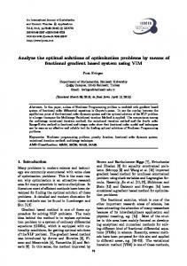 Analyze the optimal solutions of optimization problems by ... - IJOCTA