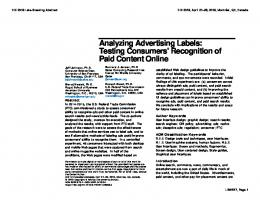Analyzing Advertising Labels: Testing Consumers' Recognition of Paid