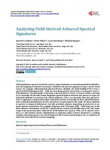Analyzing Field-Derived Arboreal Spectral Signatures - Scientific