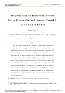 Analyzing Long-run Relationship between Energy Consumption and ...