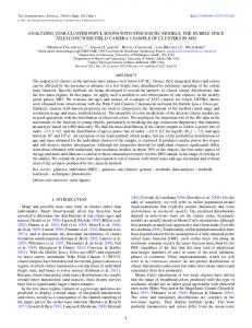 analyzing star cluster populations with stochastic models - IOPscience