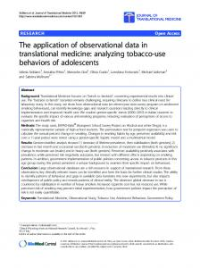 analyzing tobacco-use behaviors of adolescents - ScienceOpen