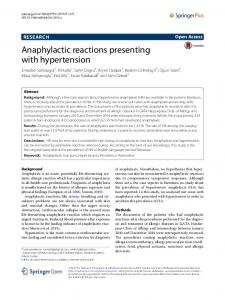 Anaphylactic reactions presenting with hypertension | SpringerLink