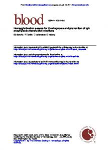 anaphylactic transfusion reactions Hemagglutination ...