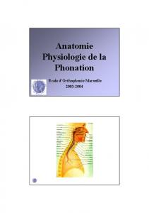Anatomie Physiologie de la Phonation