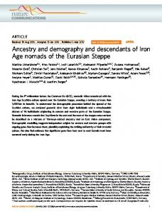 Ancestry and demography and descendants of Iron Age ... - David Reich