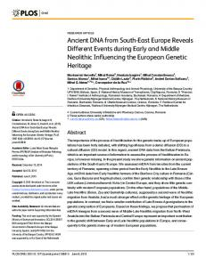 Ancient DNA from South-East Europe Reveals ... - Semantic Scholar