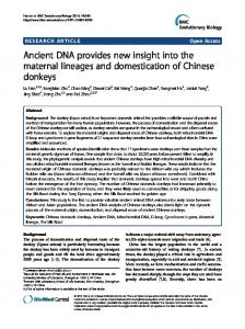 Ancient DNA provides new insight into the maternal lineages ... - Core
