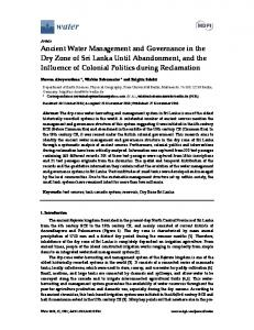 Ancient Water Management and Governance in the Dry Zone ... - MDPI