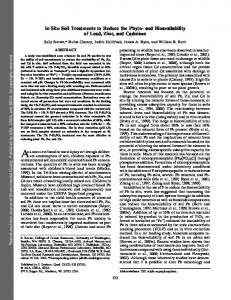 and Bioavailability of Lead, Zinc, and Cadmium - University of ...