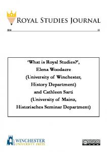 and Cathleen Sarti (University o - Royal Studies Journal - University of ...