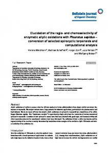 and chemoselectivity of enzymatic allylic oxidations ... - BioMedSearch