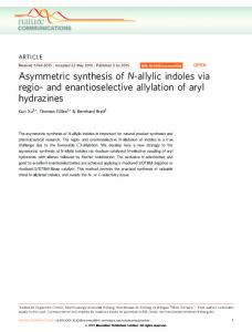 and enantioselective allylation of aryl hydrazines - Nature