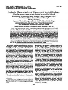 and Isoniazid-Resistant Mycobacterium tuberculosis Strains Isolated ...