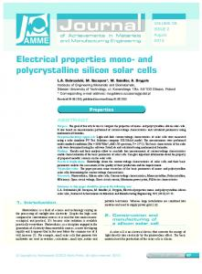 and polycrystalline silicon solar cells - Journal of Achievements in ...
