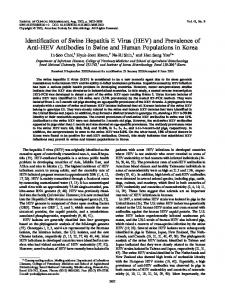 and Prevalence of Anti-HEV Antibodies in Swine and Human ...
