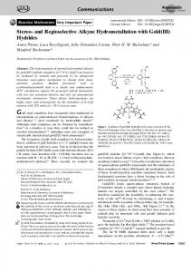 and Regioselective Alkyne Hydrometallation ... - Wiley Online Library