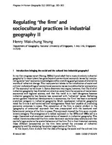 and sociocultural practices in industrial geography II - NUS Home