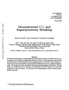 and Supersymmetry Breaking - arXiv
