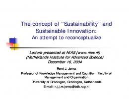 and Sustainable Innovation - Center for Sustainable Organizations