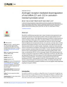 Androgen receptor-mediated downregulation of ... - Semantic Scholar