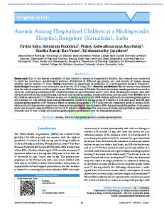 Anemia Among Hospitalized Children at a ...