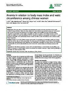 Anemia in relation to body mass index and waist ... - BioMedSearch