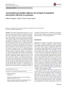 Anemonefish personalities influence the strength of ... - Springer Link