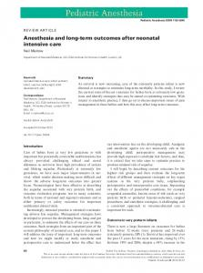 Anesthesia and longterm outcomes after ... - Wiley Online Library