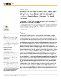 Anesthesia-Induced Hypothermia Attenuates Early