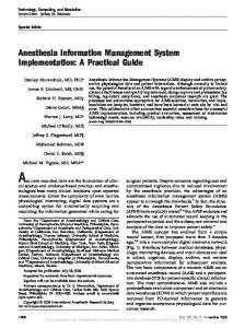 Anesthesia Information Management System Implementation: A ...