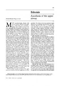 Anesthesia of the upper airway - Springer Link
