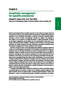 Anesthetic management for specific procedures