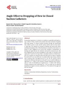 Angle Effect to Dropping of Dew in Closed Suction ...