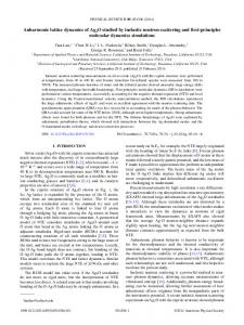 Anharmonic lattice dynamics of Ag2O studied by ... - APS Link Manager
