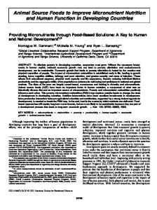 Animal Source Foods to Improve Micronutrient ... - Journal of Nutrition