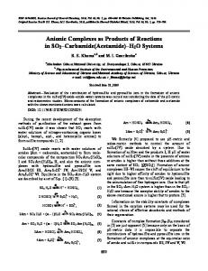 Anionic Complexes as Products of Reactions in SO2 ... - Springer Link