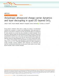 Anisotropic attosecond charge carrier dynamics and layer decoupling ...