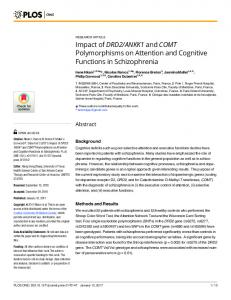 ANKK1 and COMT Polymorphisms on ... - PLOS