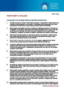 ANMF Policy Mental health nursing care