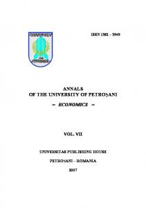 annals of the university of petro ani economics