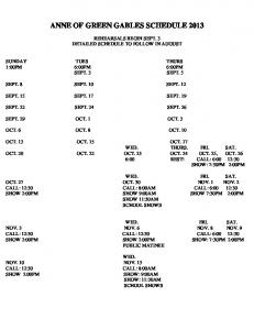 ANNE OF GREEN GABLES SCHEDULE 2013