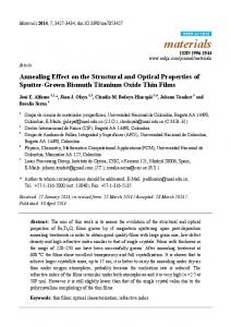 Annealing Effect on the Structural and Optical Properties of ... - MDPI