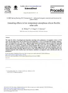Annealing Effects in Low Temperature Amorphous Silicon ... - JuSER