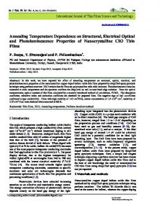 Annealing Temperature Dependence on Structural, Electrical Optical