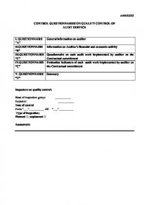 ANNEXES CONTROL QUESTIONNAIRES ON QUALITY CONTROL ...