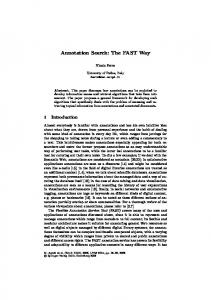 Annotation Search: The FAST Way - Springer Link