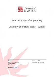 Announcement of Opportunity - University of Bristol CubeSat Payloads ...