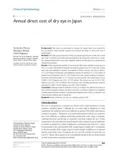 Annual direct cost of dry eye in Japan - CiteSeerX